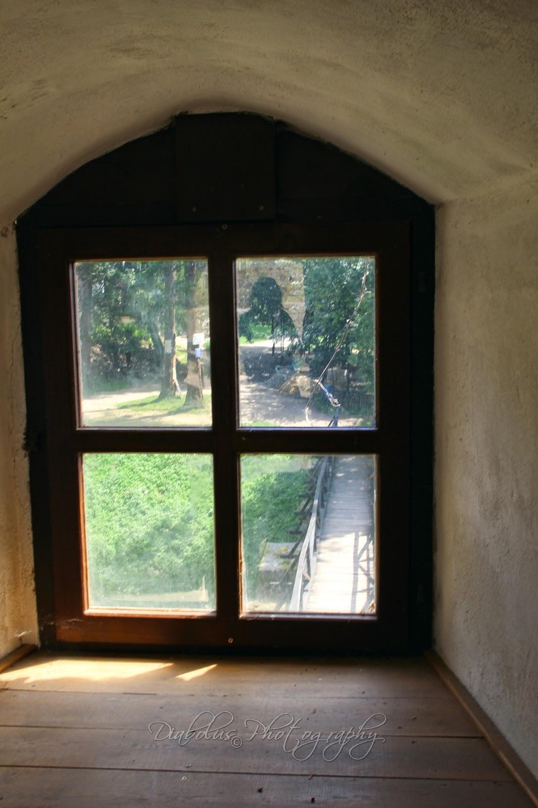 Výhled z okna vstupní věže na vstupní most/The View from Window of the Entrance Tower to Entrance Bridge