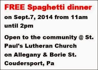 9-7 Free Spaghetti Dinner