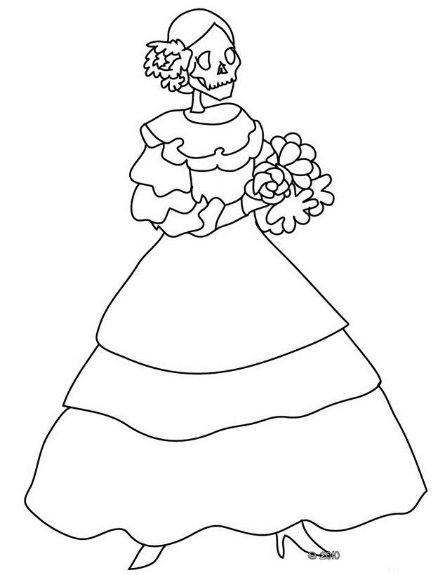 DIA De Los Muertos Catrina Coloring