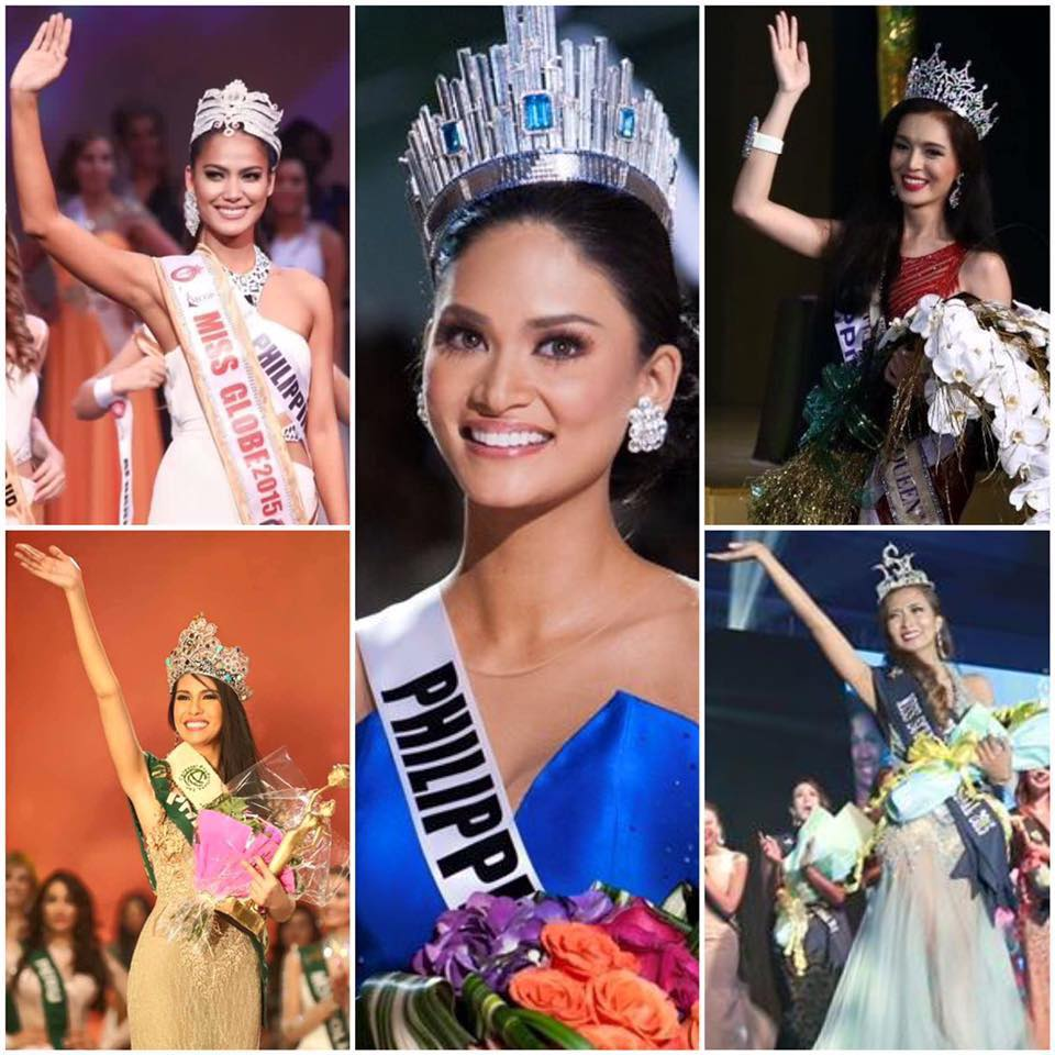 Miss Universe 2015 Pia Wurtzbach, Miss Earth 2015 Angelia Ong, Miss Globe 2015 Ann |