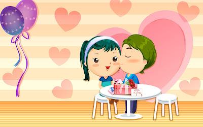 Enamorados festejando el día de San Valentín