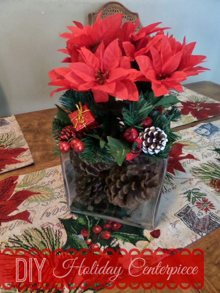 Diy holiday centerpiece and tables cape on a budget