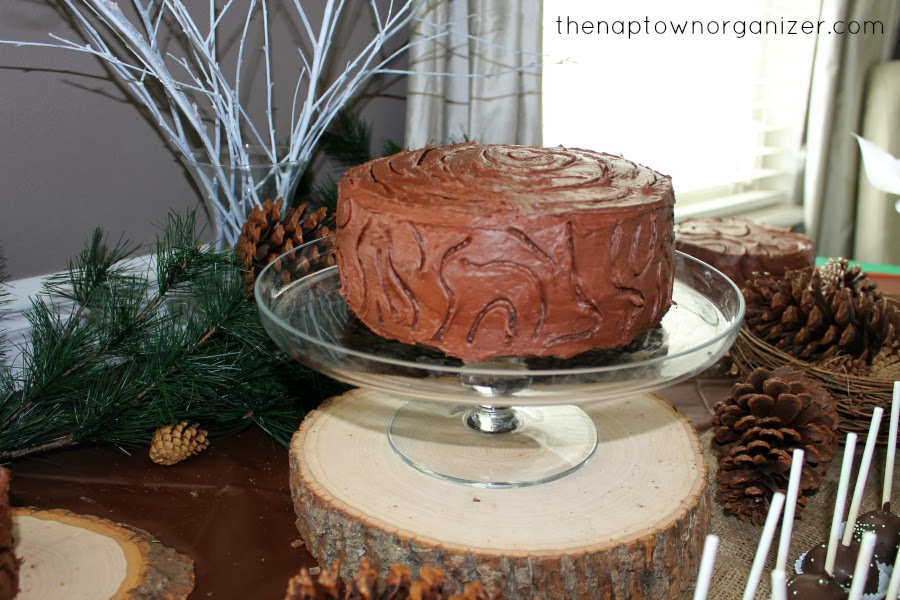 woodland birthday party food - wood / wooden themed cake