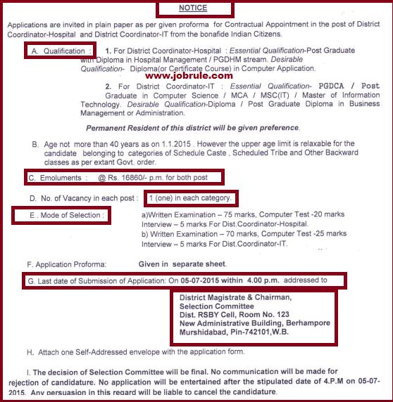Murshidabad District Coordinator Hospital & District Coordinator IT Contract Basis Jobs Opening June 2015