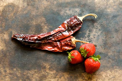 strawberries and guajillo chiles