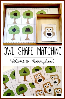 FREE owl shape matching printable from Welcome to Mommyhood #preschool, #montessori, #montessoriinspired, #preschoolactivities, #shapeprintables