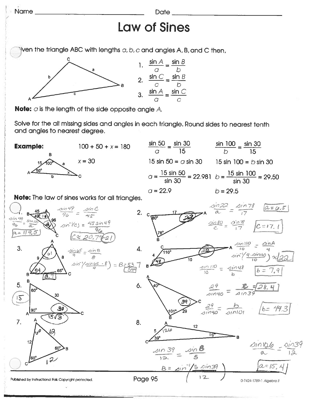 Math Classes Spring 2012 PreCalc Laws of Sines and Cosines – Law of Sine and Cosine Worksheet