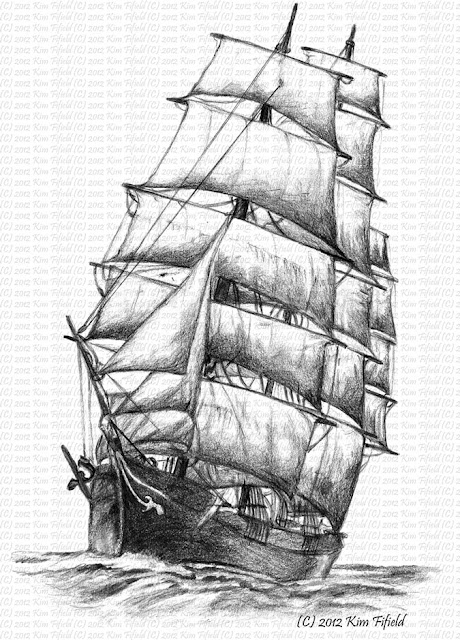 fat fergus designs  sailing ship windermere  pencil on paper