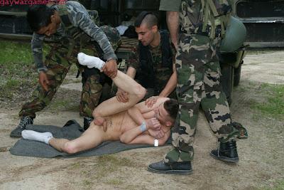 hazed military bloke sucking cock