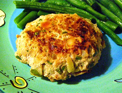Sausage Burger with Green Beans