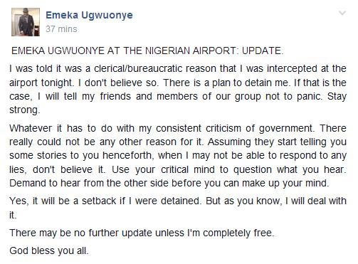 Shocking: Man Allegedly Arrested At Airport For Criticizing President Buhari And APC On Facebook (Photo, Screenshots)
