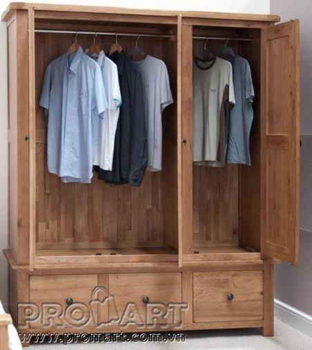 Tủ quần áo gỗ sồi kiểu Rustic 3 cánh 3 ngăn kéo