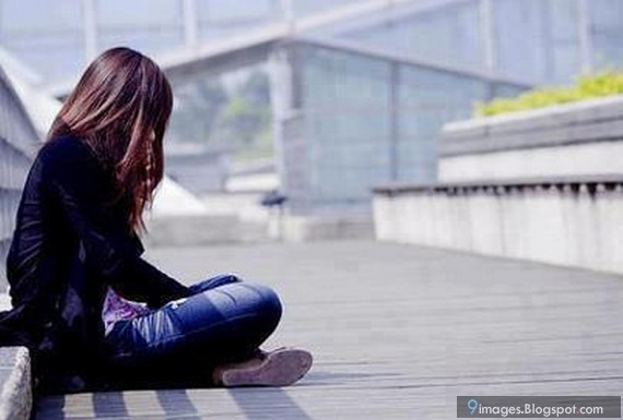 Alone, girl, cute, sad, jeans, waiting