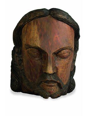 Nicola. 'Cabeça'. Escultura em madeira, 1983. 32 x 26 x 28 cm