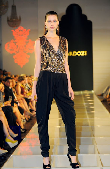 Black and gold jumpsuit from Singapore label Zardoze