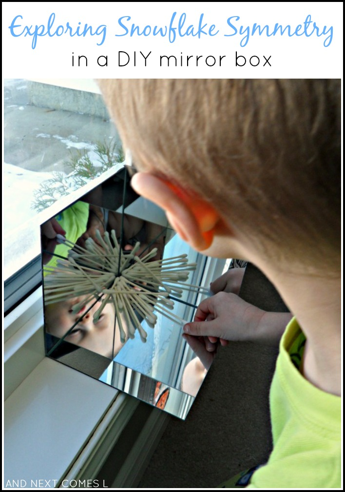 Exploring symmetry with snowflakes in a DIY mirror box: simple math exploration for toddlers and preschoolers from And Next Comes L