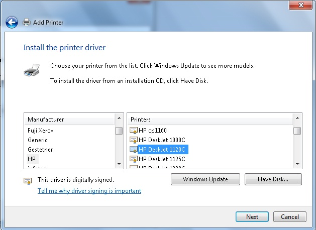 hp deskjet 920c driver  windows 7