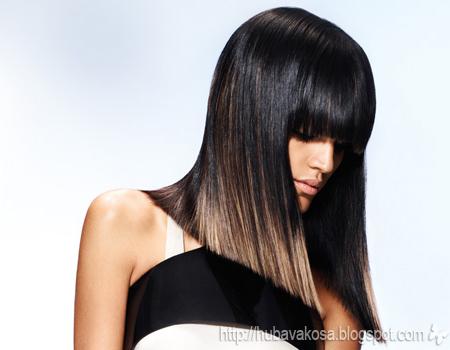 черна коса със златисти кичури