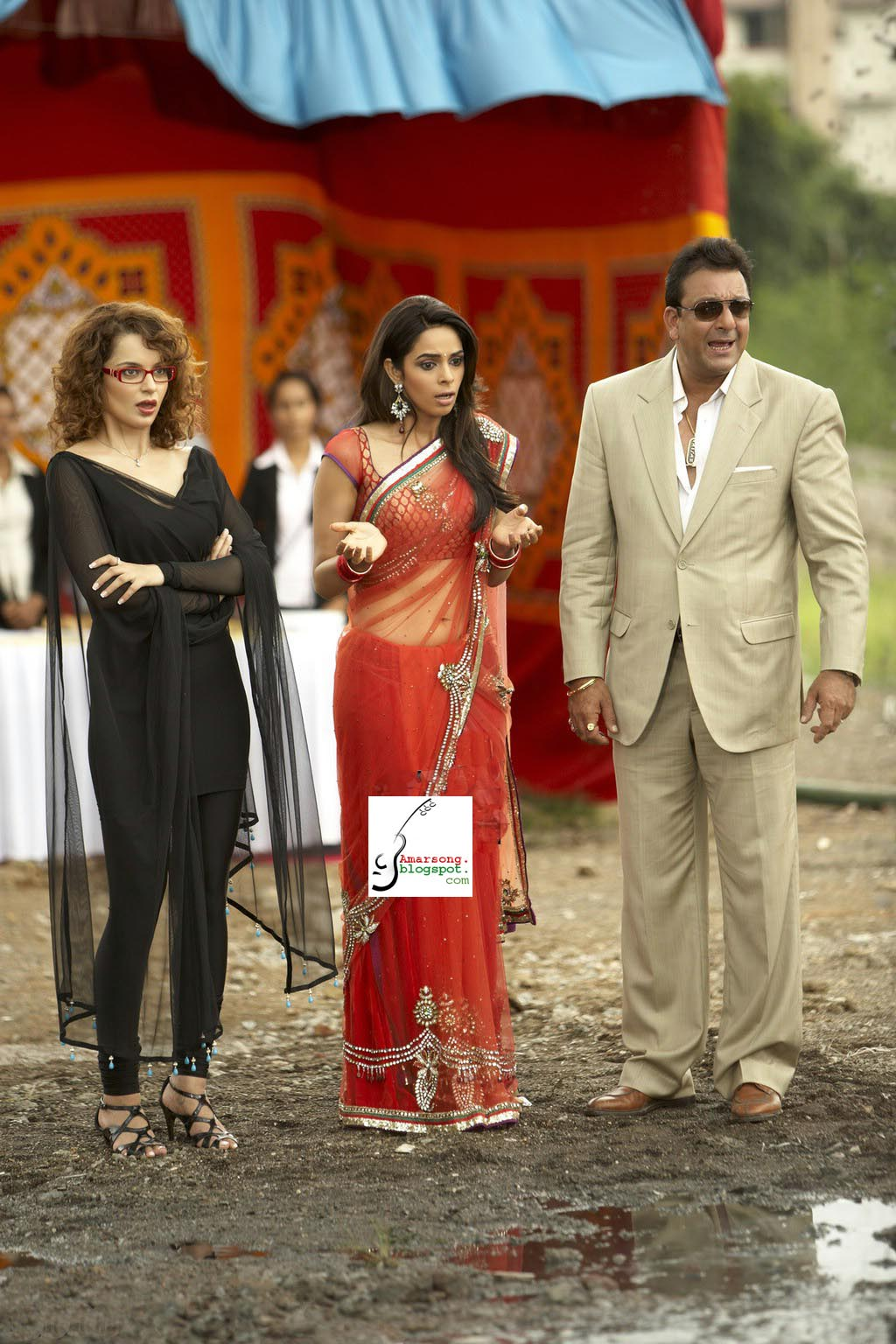 Mallika Sherawat with Langana in saree2- Double Dhamaal