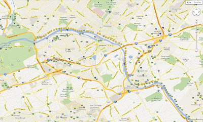 A map of the geocache smileys we retrieved on the Schuylkill River Trail in one day!