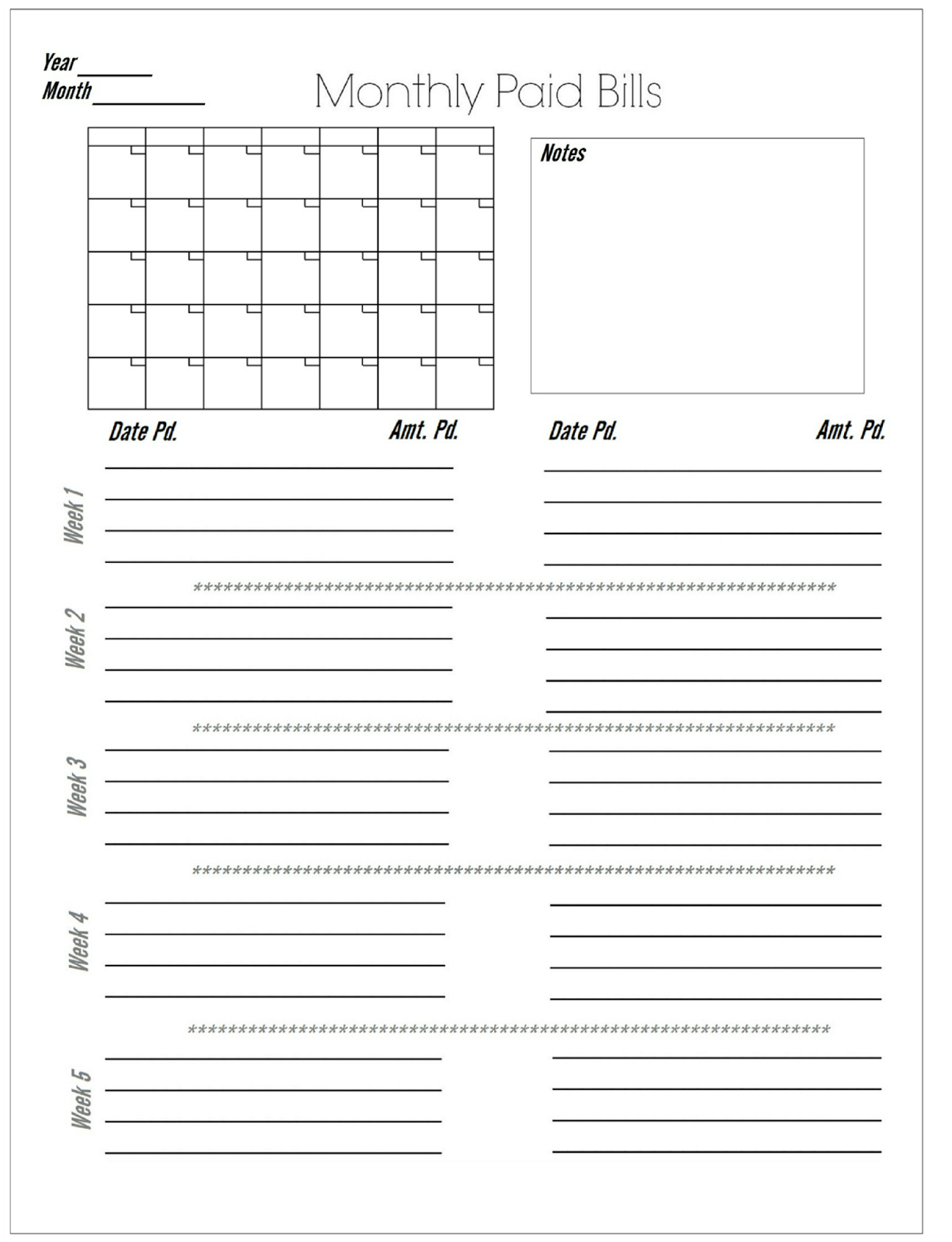 glenda's World : Worksheet to Keep Track of Paid Monthly Bills