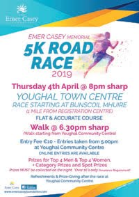 5k in Youghal in E Cork... Thurs 4th Apr 2019