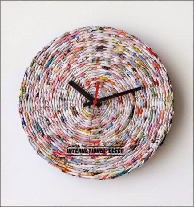 diy wall clock, cool wall clocks,creative wall clocks,diy clocks of magazine papers