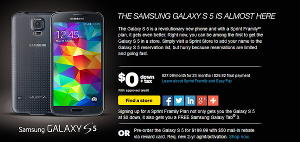 Samsung Galaxy S5 for Sprint pre-order