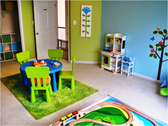 Wall painting ideas for playrooms - Funny playroom with colorfull wall paint idea ...