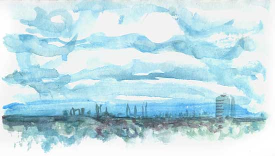 Shiho Nakaza watercolor sketch of clouds in Los Angeles daytime