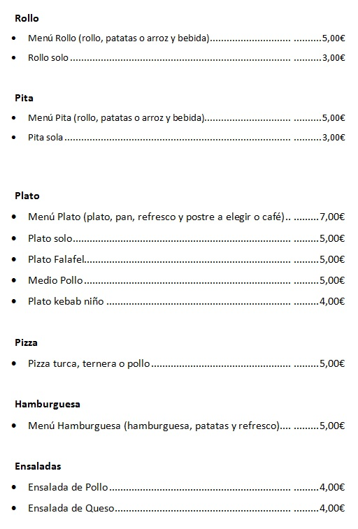 Carta platos