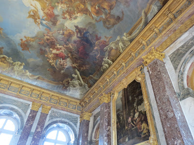 Ceiling mural inside Le Chateau de Versailles, french for The Palace of Versailles, just outside Paris, France www.thebrighterwriter.blogspot.com