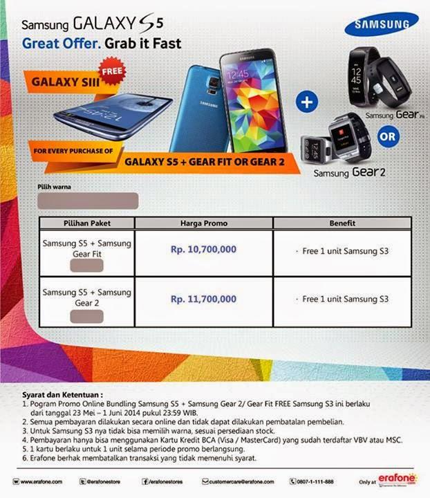 Beli Samsung Galaxy S5 dan Samsung Gear bonus Samsung Galaxy S3