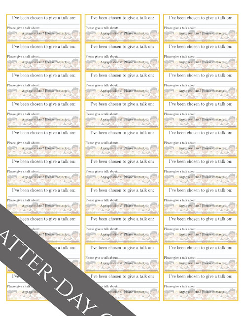 Latter Day Chatter Primary Assignment Stickers