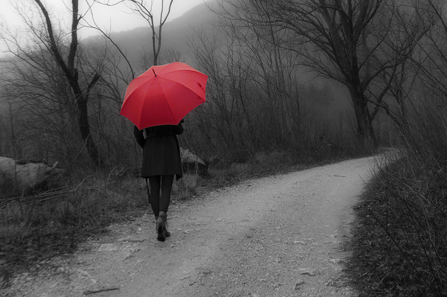 For Peet's Sake blog black and white photography red umbrella
