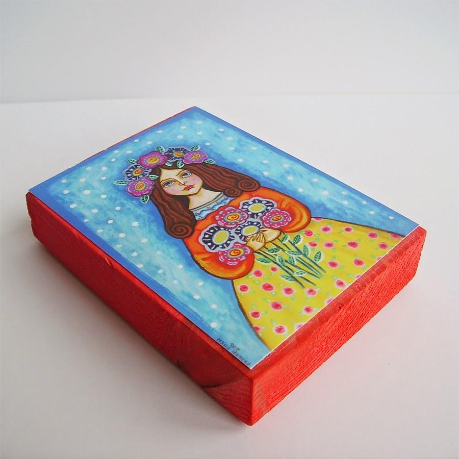 Drewniany obrazek obraz ilustracja dla dziewczynki dziecka księżniczka królewna róża kwiaty łąka wróżki wróżka różowe syrenka syrena balonik króliczek lalka prezent upominek na gwiazdkę ozdoba dekoracja bożonarodzeniowa świąteczna Boże Narodzenie
