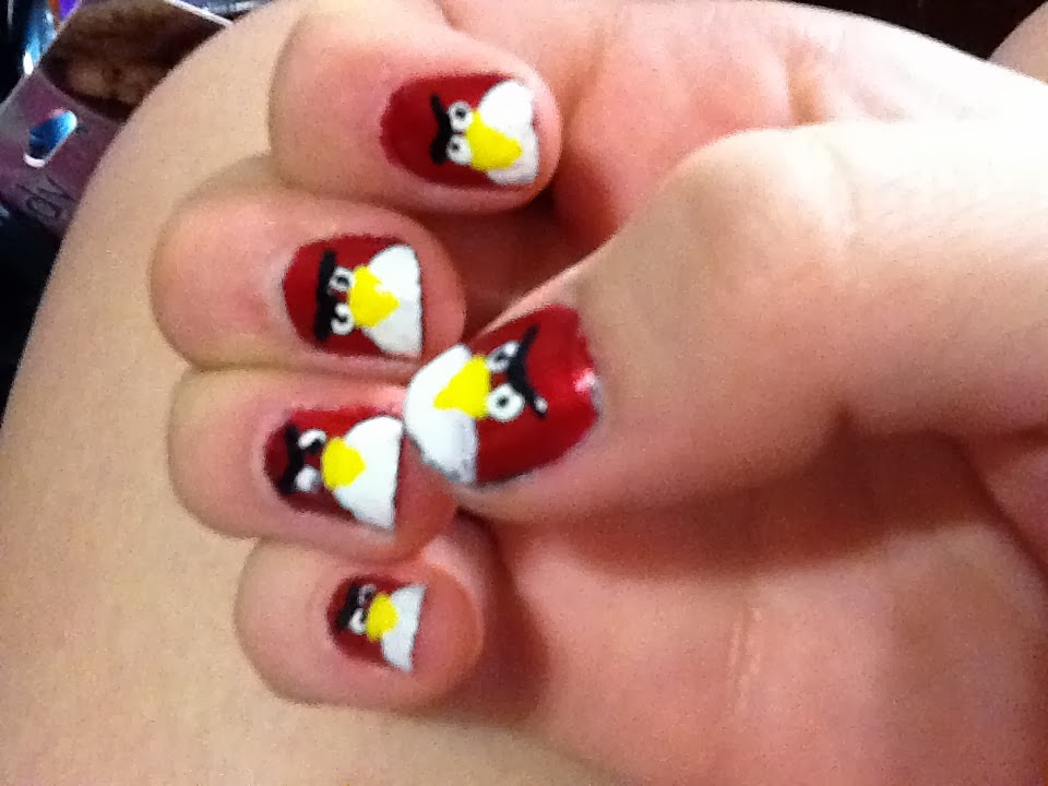 Angry Bird Nail Art Designs