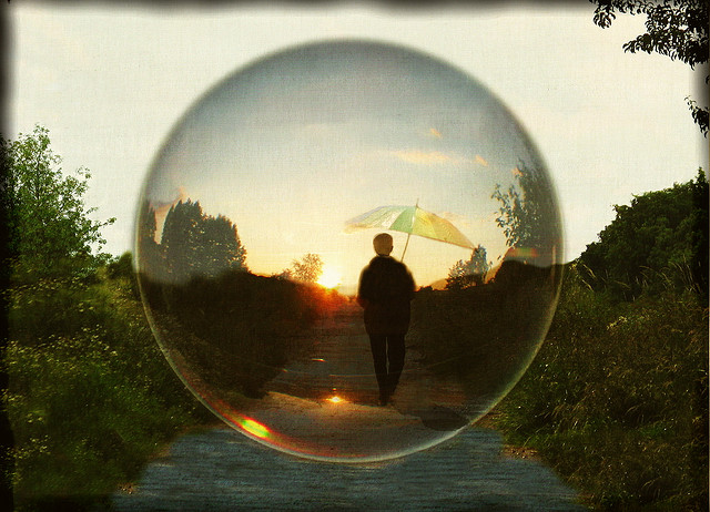 Dream image of person in bubble