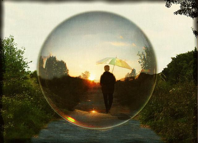 Dream image of person in bubble