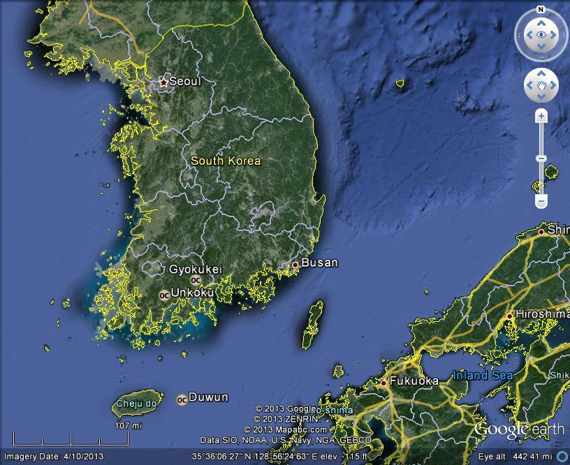 South Korea Meteorites Map