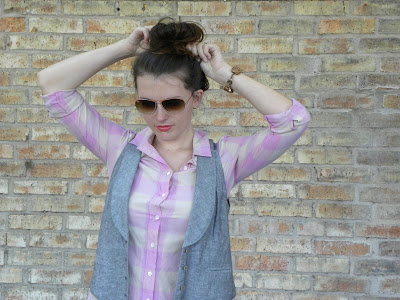 maxi check shirt and blogger bun