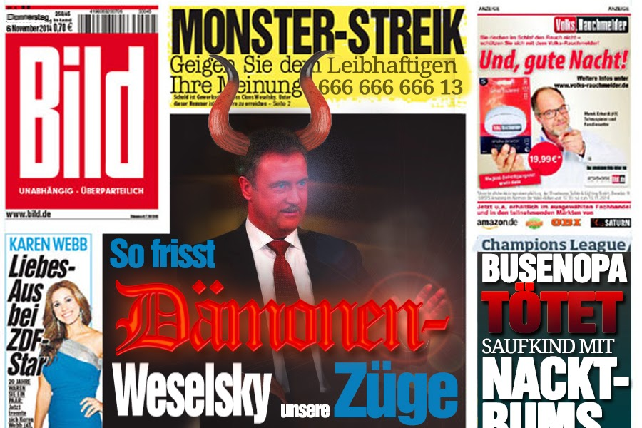 Bild newspaper exposes GDL chief Claus Weselsky as a demon from hell Low