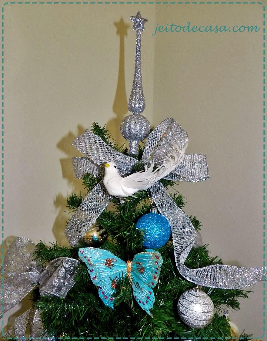 decoracao arvore de natal azul:Árvore de natal prata e azul – Jeito de Casa – Blog de Decoração