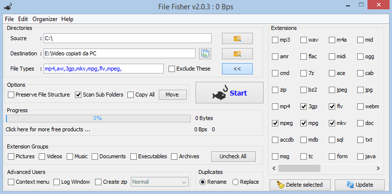File Fisher interfaccia grafica