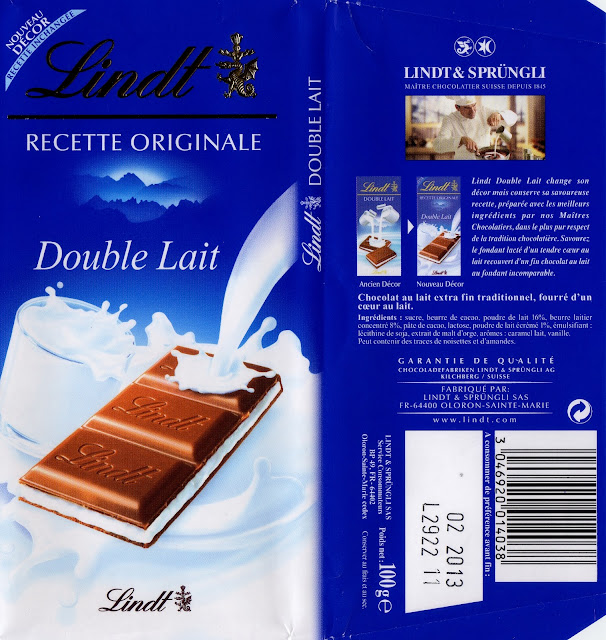 tablette de chocolat lait fourré lindt recette originale double lait