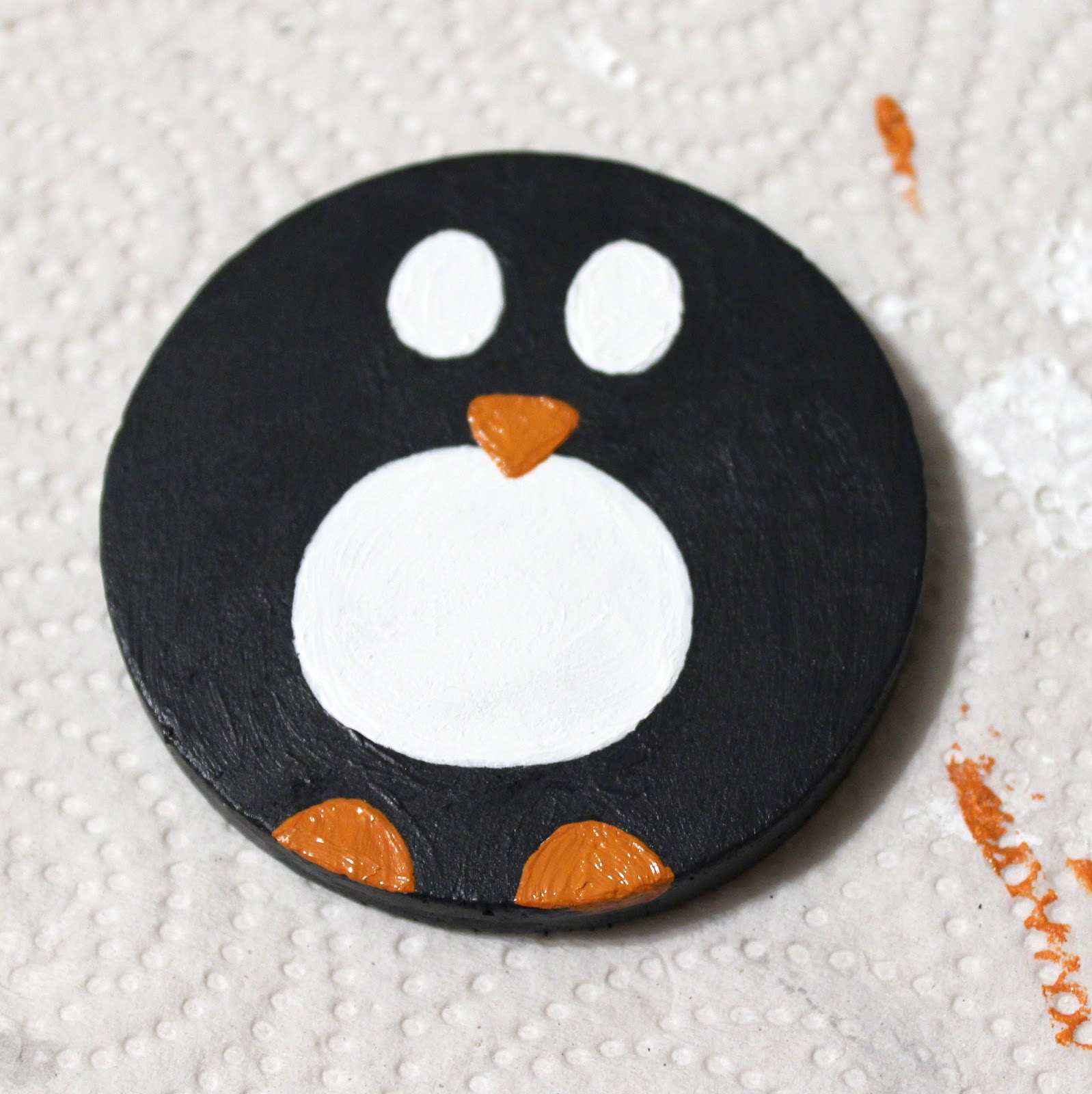 diy painted penguin magnet