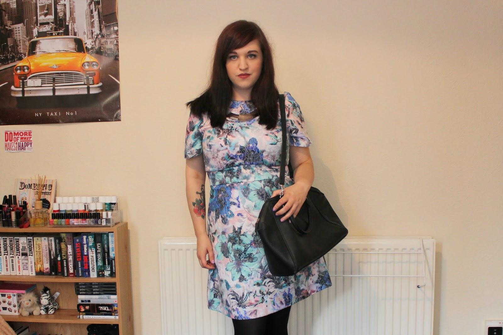 Warehouse Printed Jacquard Shift Dress