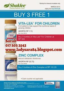 Promosi March 2015 - ZINC BUY 3 FREE 1 / VITALAE FOR CHILDREN BUY 3 FREE 1!!!
