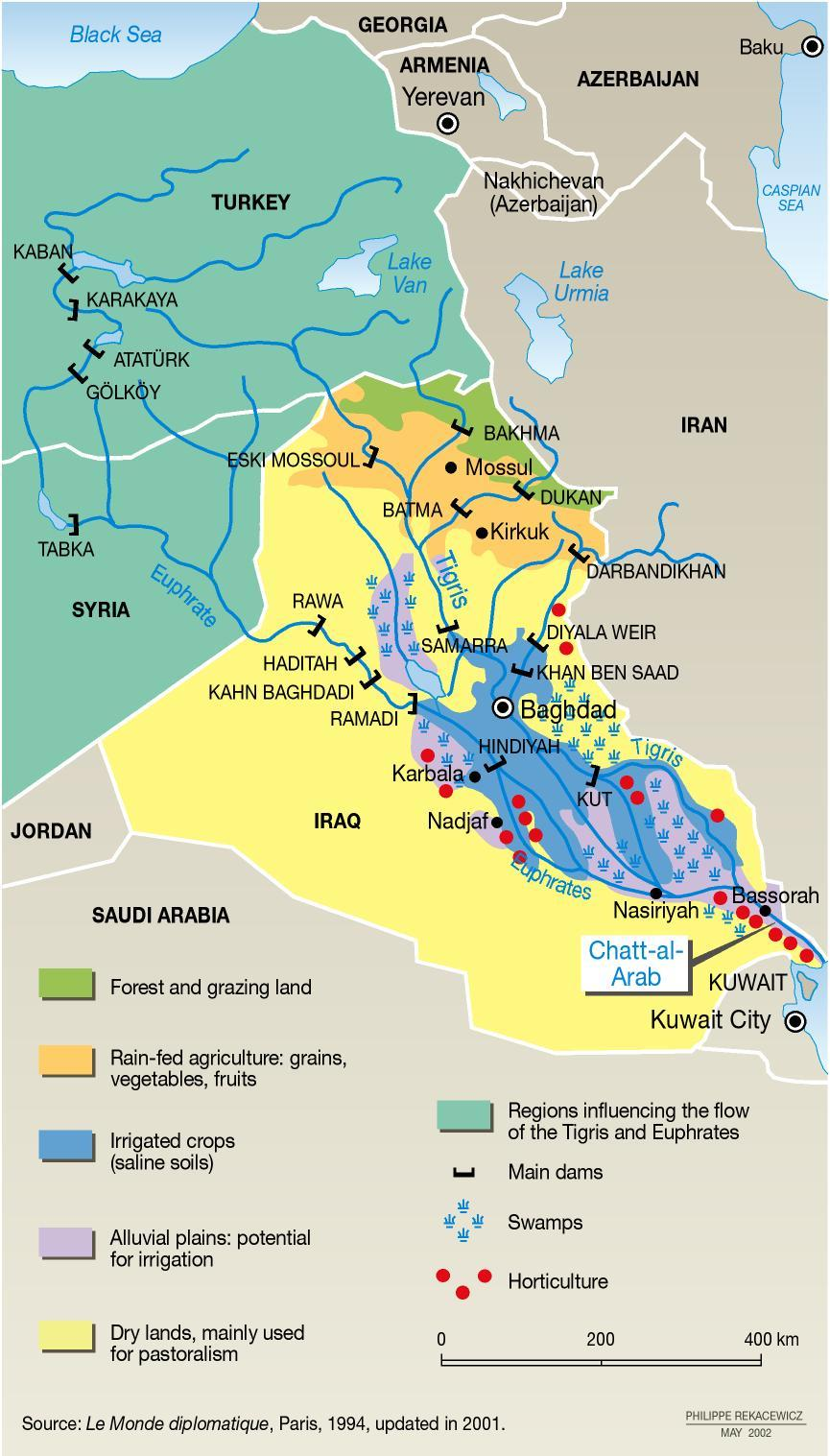 Middle east map euphrates river