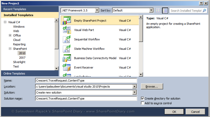 Creating Visual Studio Solution for Content Types in SharePoint 2010